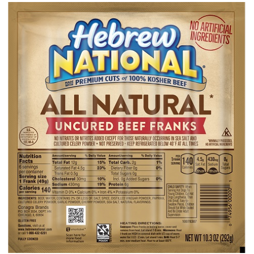 All Natural Kosher Hot Dogs