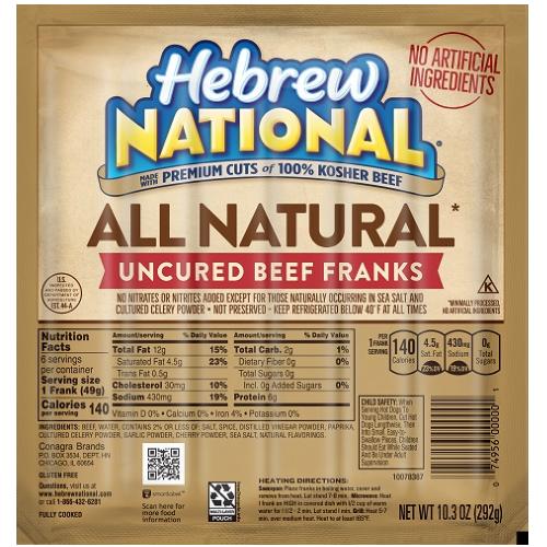 Hebrew National Hot Dog Sizes