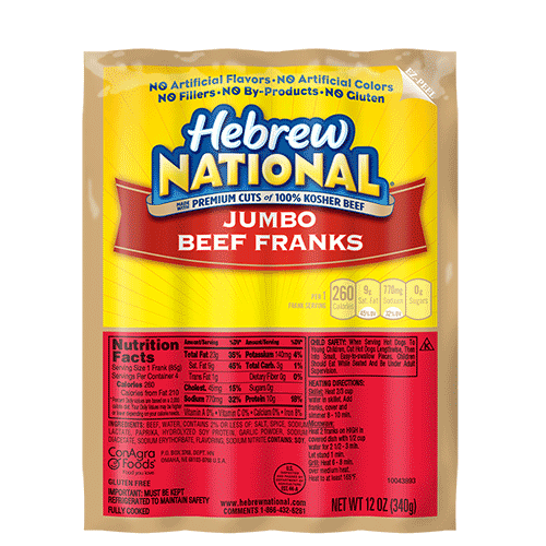 Hebrew National Hot Dog Fat Content